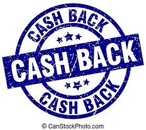 cash back blue round grunge stamp