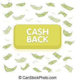 Cash back button concept. Dollar money rain. Hundred banknotes flying. Seamless finance background. Vector illustration