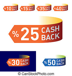 Cash-back emblem - In vector you can easily change colors...