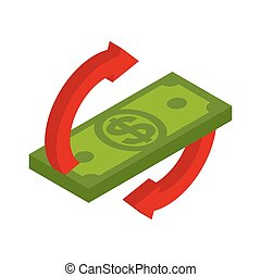Cash back icon. Symbol is return of Money. Sign of a refund of dollars. Business vector illustration