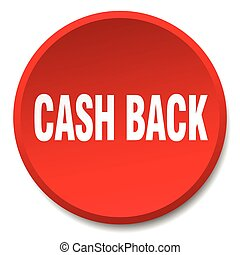 cash back red round flat isolated push button
