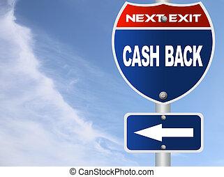 Cash back road sign