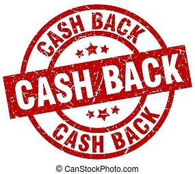 cash back round red grunge stamp