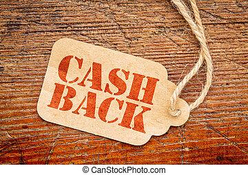 cash back sign on price tag