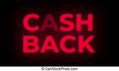 Cash Back Text Flickering Display Promotional Loop. - Cash...