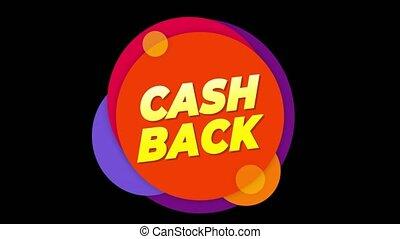 Cash Back Text Sticker Colorful Sale Popup Animation. - Cash...