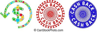 Refund composition of Christmas symbols, such as stars, fir-trees, multicolored balls, and CASH BACK corroded stamps. Vector CASH BACK stamps uses guilloche ornament,