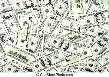 Cash background - money background of $ bills in US currency