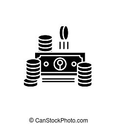 Cash black icon, vector sign on isolated background. Cash concept symbol, illustration