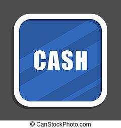 Cash blue flat design square web icon