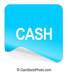 cash blue sticker icon