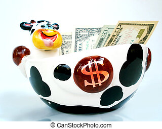 Cash Cow close up - Low angle view of Ceramic Cow bowl with...