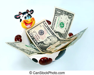 Cash Cow in mess - Ceramic Cow bowl contain cash in a mess...