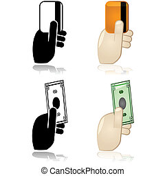 Cash, credit or debit payment options - Icons showing a hand...