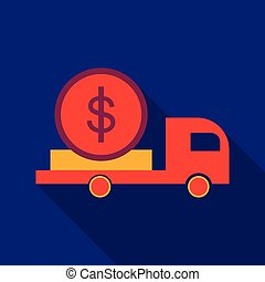 Cash Delivery Car vector icon. Designed for web and software interfaces.