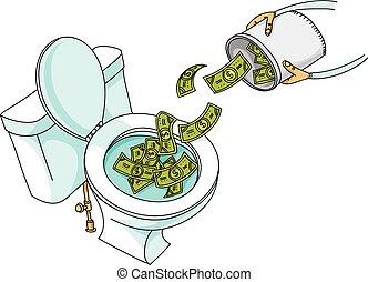 Cash Dumped Down the Toilet