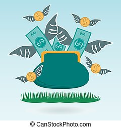 Cash expenditure. Wallet with money fly away. Business grass...