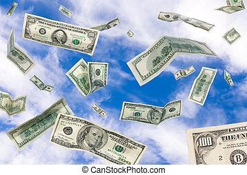 Cash falling from the sky - One hundred dollar bills falling...