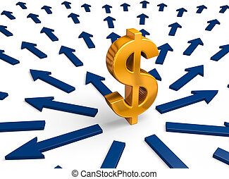 A bright, gold dollar sign stands in the center of a multitude of blue arrows radiating outward. Isolated on white.