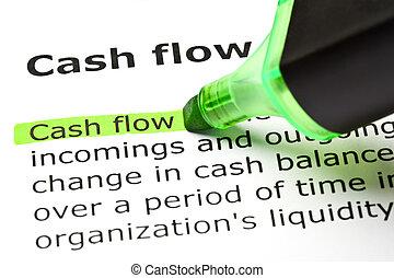 'cash, flow', aangepunt, in, groene