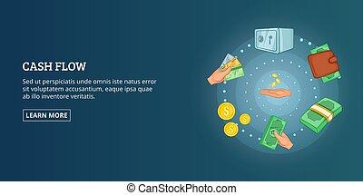 Cash flow banner horizontal, cartoon style