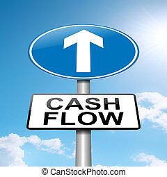 Illustration depicting a roadsign with a cash flow concept. Blue sky background.