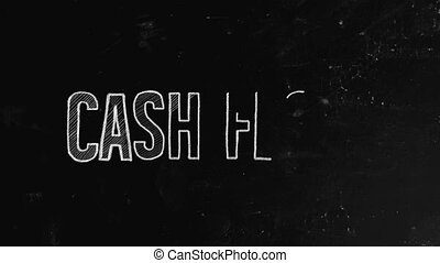 Cash flow concept written on blackboard. A cash flow is a real or virtual movement of money: a cash flow in its narrow sense is a payment, especially from one central bank account to another