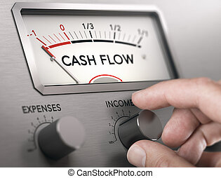 Man turning knob to increase income and cash flow level. Composite image between a hand photography and a 3D background.