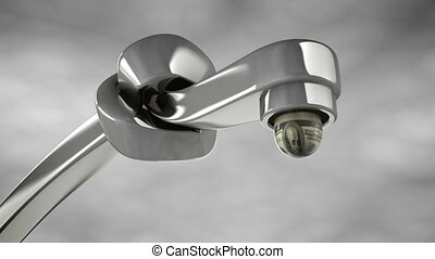 Cash Flow Crunch - A macro zoom on a faucet driping a drop...