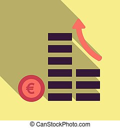 Cash flow graph. Market growth concept. Vector illustration of big stacked pile of cash. Modern currency concept profit growth.