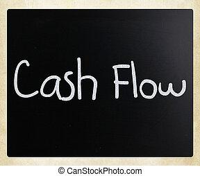 """Cash flow"" handwritten with white chalk on a blackboard"