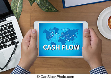 CASH FLOW man hand Tablet and coffee cup