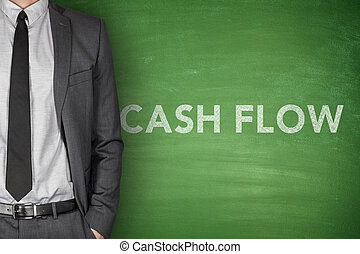 Cash flow on blackboard - Cash flow on black blackboard with...