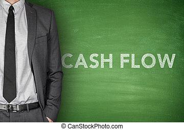 Cash flow on blackboard - Cash flow on black blackboard with...