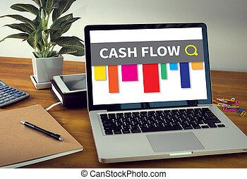 CASH FLOW Laptop on table. Warm tone