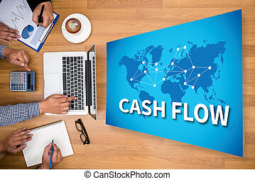 CASH FLOW Business team hands at work with financial reports...
