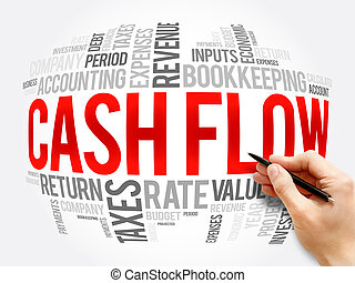 Cash Flow word cloud collage, business concept background
