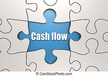Cash flow word on jigsaw puzzle