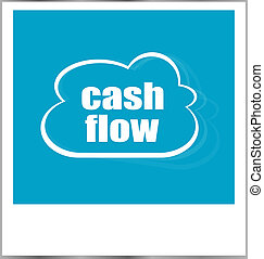 cash flow words business concept, photo frame isolated on white