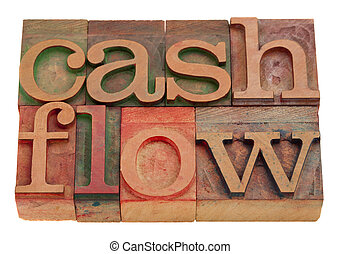 cash flow words in vintage wooden letterpress type isolated...