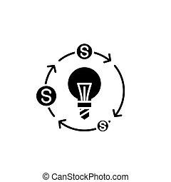 Cash flows black icon concept. Cash flows flat vector symbol, sign, illustration.