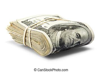 cash - folded hundred dollar bills