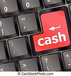 cash for investment concept with a red button on computer keyboard vector illustration