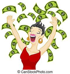 Cash Girl - An image of a girl winning cash.