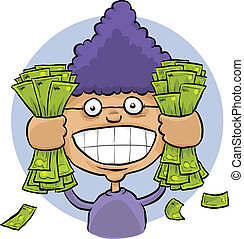 Cash Grab - A cartoon woman grabbing big handfuls of cash...