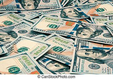 Cash hundred dollar bills, dollar background image. Scattered dollars. A big pile of dollars. Background of North American dollar bills. Color style.