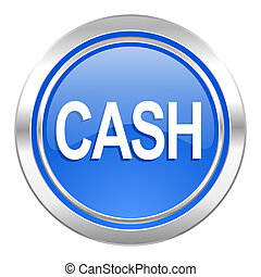 cash icon, blue button