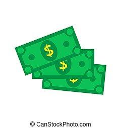 Cash Icon in flat style. Dollar banknote green. Vector illustrat