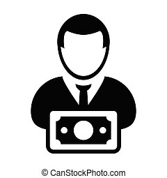 Cash icon vector male user person profile avatar with money...