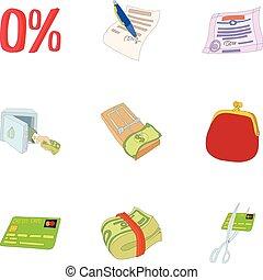 Cash icons set, cartoon style